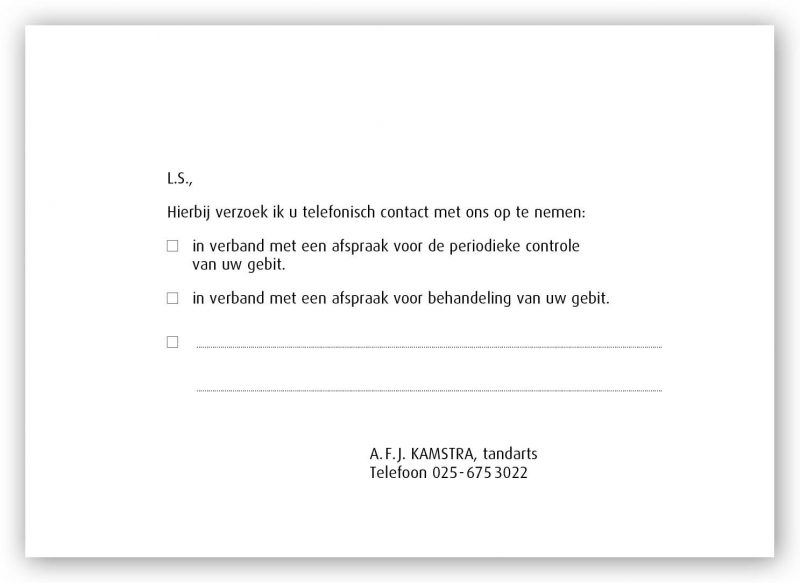 Berichtenkaart tandartspraktijk webshop